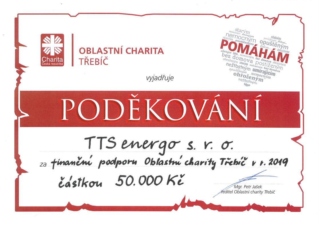Poděkování - charita -TTS