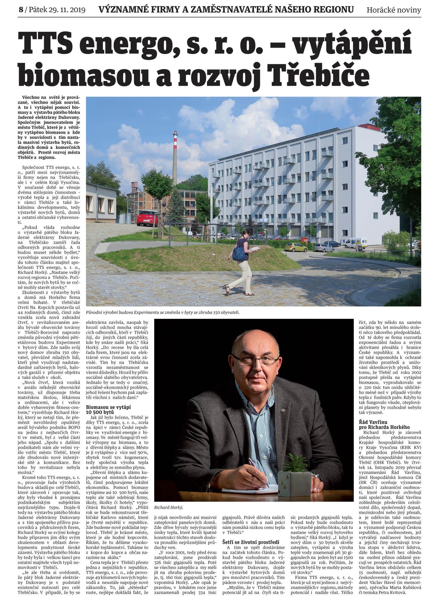 Horácké noviny - TTS energo - významné firmy regionu