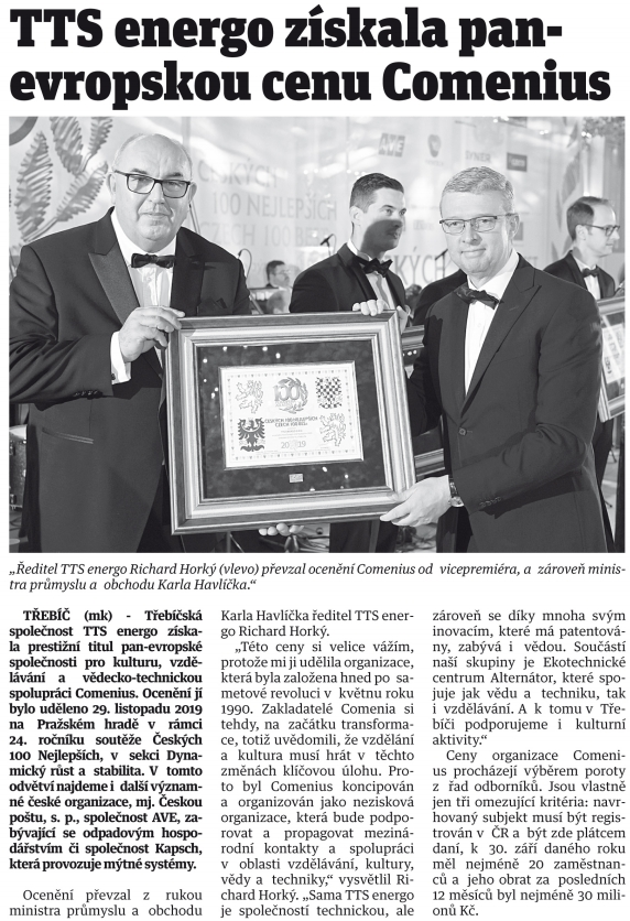 Horácké noviny - Comenius pro TTS