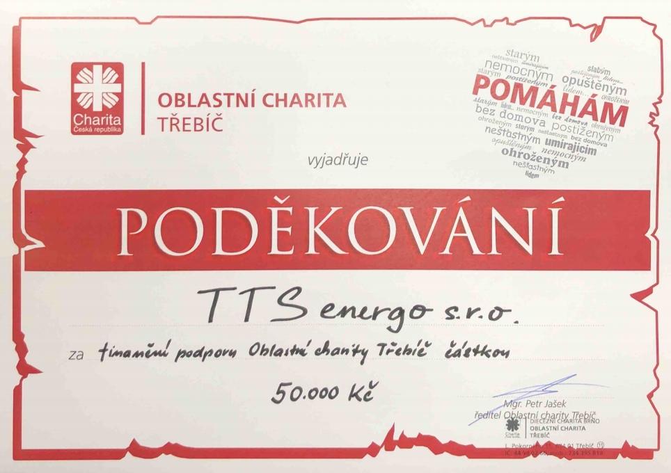 Charita Třebíč - poděkování TTS
